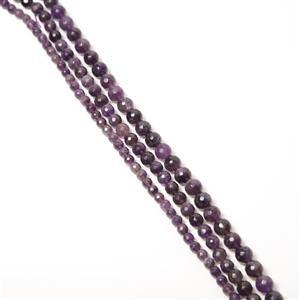 470cts Amethyst Faceted Rounds Approx 6 to 10mm, 38cm Strands (Set of 3)