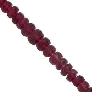 12cts Rubelite Tourmaline Graduated Faceted Rondelles Approx 3x1.25 to 5.5x3mm, 7cm Strand