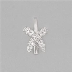 925 Sterling Silver Fancy Pinch Bail Approx 15x10mm Inc. 0.14cts White Topaz