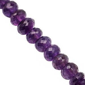 108cts Amethyst Graduated Faceted Rondelle Approx 7x4 to 10x7mm, 21cm Strand