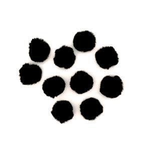 Black Faux Fur Pom Poms, Approx 4cm (10pk)
