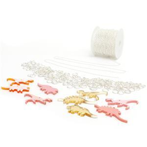 Rawr-Some! Acrylic Dinosaurs in Orange, Gold & Pink, Curb Chain & Jump Rings