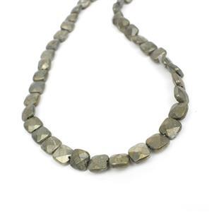 160cts Pyrite Faceted Puffy Squares Approx 8mm, Approx 38cm strand