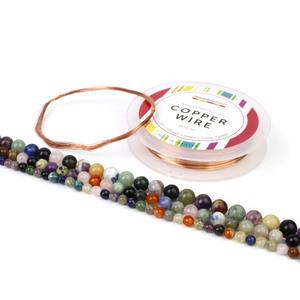 Confetti Colours! Multi-Colour Gemstone Rounds in 6,8 & 10mm with Bare Copper Wire