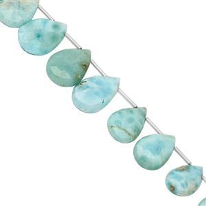 70cts Larimar Top Side Drill Graduated Faceted Pear Approx 10x7 to 17x11mm, 20cm Strand with Spacers