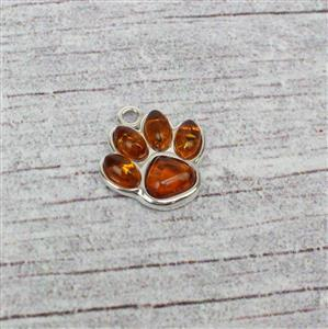 Baltic Cognac Amber Sterling Silver Paw Print Charm Approx 14x15mm