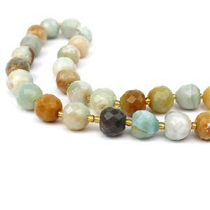 250cts Multi-colour Amazonite Faceted Apple Approx 10mm, 38cm
