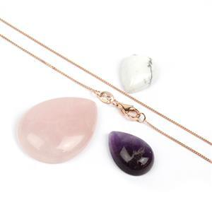 Cabochon Bundle; Amethyst, Rose Quartz & Howlite Pears with 925 Rose Gold Chain