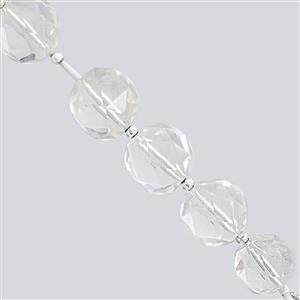 145cts Clear Quartz Faceted Round Approx 14 to 16mm, 9cm Strand with Spacers