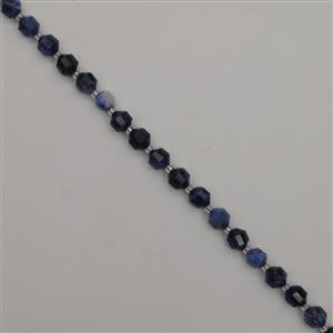 90cts Sodalite Faceted Satellite Beads Approx 7x8mm, 38cm Strand