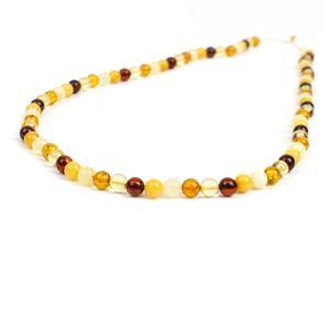 Baltic Multi Colour Amber Rounds Approx. 5mm, 38cm Strand - Cognac, Lemon, Cherry, Off-White & Butterscotch