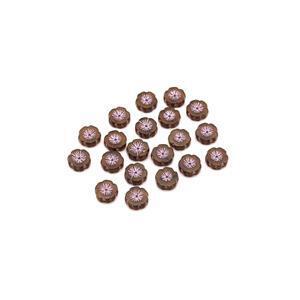 Precisoa Ornela Light Topaz Pale Pink Table Cut Hawaiian Flower Beads, 14mm (20pk)