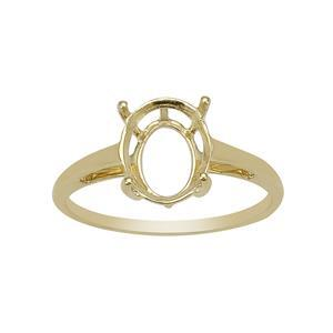 9k Yellow Gold Oval Ring Mount (To fit 10x8mm gemstone)-1Pcs