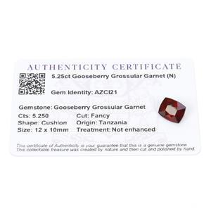 5.25cts Gooseberry Grossular Garnet 12x10mm Cushion  (N)