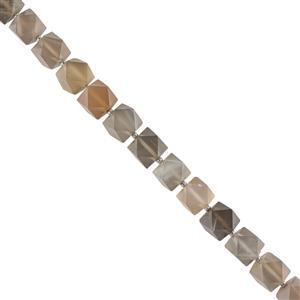 100cts Grey Moonstone Faceted Cubes Approx 8x7mm, 14cm Strand.