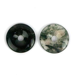 75cts. Moss Agate Donuts Approx 30mm, 2pcs