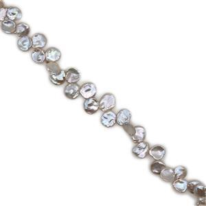 High Luster White Freshwater Cultured Keshi Pearls Approx 15x20mm, 38cm Strand