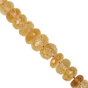 100cts Citrine Graduated Faceted Rondelle Approx 5x3 to 9.5x6mm, 20cm Strand