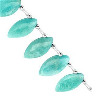 95cts Amazonite Top Side Drill Smooth Marquoise Approx 18.5x9 to 24x14mm, 16cm Strand with Spacers