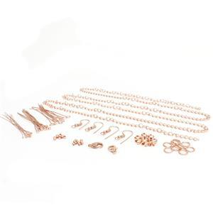 Rose Gold Plated Base Metal Essential Findings Pack (75pcs)