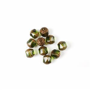 Czech Cathedral Beads - Olivine Bronze, 10mm (10pcs)