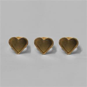 Size 7 Gold Plated Heart Bezel Rings - 20mm (3pcs/pk)