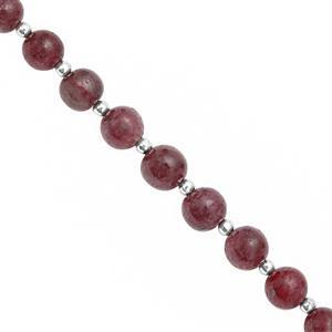 66cts Ruby Smooth Round Approx 5 to 8mm, 16cm Strand with Spacers