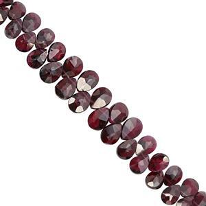 56Ct Rhodolite Garnet Top Side Drill Graduated Faceted Pear Approx 6x4 to 6.4x8.75mm, 16cm Strand With Spacers