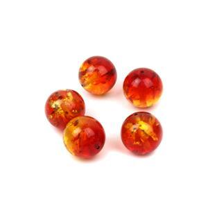 Baltic Ruby Red Ombre Amber 12mm Rounds (5pc)