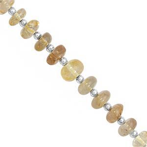 60cts Golden Topaz Center Drill Graduated Smooth Rondelle Approx 5x3 to 9.5x5mm, 18cm Strand with Spacers