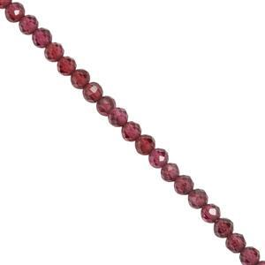 13cts Rhodolite Garnet Faceted Rounds Approx 2.3x2.1mm 30cm Strand