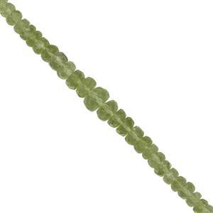 30cts Kashmir Peridot Graduated Faceted Rondelles Approx 2x1 to 5x3.5mm, 20cms Strand