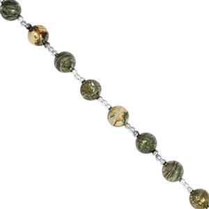 65cts Feather Pyrite Smooth Rounds Approx 7.5 to 8mm, 20cm Strand With Spacers