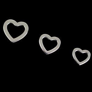 925 Silver 3 Size Heart Charms Approx 10,11,&12mm (3pcs)