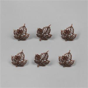 Antique Bronze Plated Brass Leaf Earring Approx 17x15mm (Set of 3 pairs)