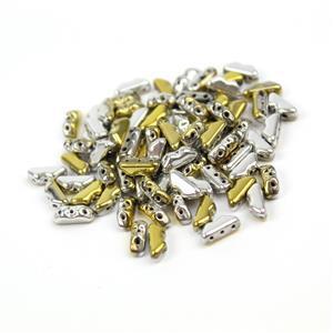Czech Volcano Beads by Patty McCourt - Jet California Silver, Approx 4x9mm (100pcs)