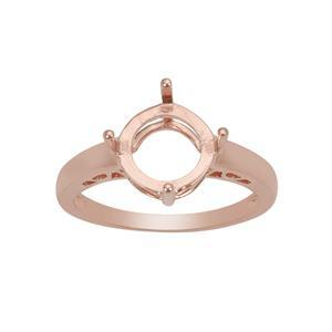 Rose Gold Plated 925 Sterling Silver Round Ring Mount (To fit 10mm gemstone) - 1Pcs