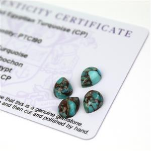 5.1cts Egyptian Turquoise 9x7mm Pear Pack of 4 (CP)