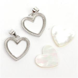 925 Sterling Silver Heart Bezel Pendants Approx 17mm (2pcs) & Mother Of Pearl Heart Cabochon (2pcs) Approx 12x15mm
