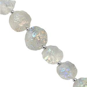 195cts Clear Quartz Center Drill Graduated Rough Coin Approx 16 to 22mm, 19cm Strand with Spacers