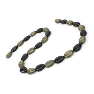 210cts Pyrite & Black Obsidian Pears Approx 10x14mm 15