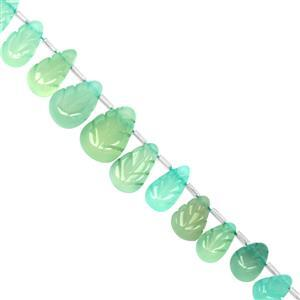 115cts Sky Blue Chalcedony Side Drill Carved Pear Approx 10x8.5 to 17x12mm, 21cm Strand With Spacers