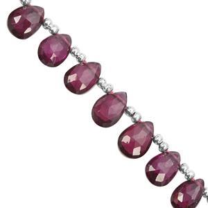 25cts Rhodolite Garnet Top Side Drill Graduated Faceted Pears Approx 6x3 to 8x5.5mm, 21cm Strand with Spacers