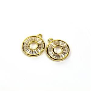 Gold Plated 925 Sterling Silver Cubic Zirconia Round Pendants  Approx 11mm (2pcs)