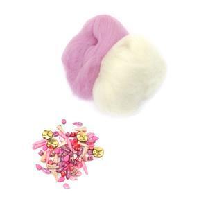 Sweatpea; Baby Pink & White Wool Tops 5g, Preciosa Ornela Trade Mark Bead Mix Pink 20g