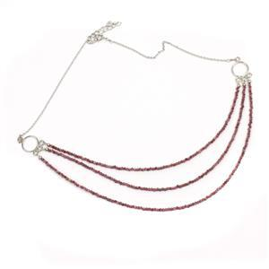 20ct Natural Ruby Sterling Silver Faceted Necklace