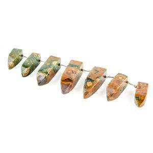 140cts Rhyolite Graduated Plain Fancy Shapes Approx 20x8 to 28x8mm, 10cm Strand.
