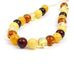 Baltic Multi Colour Amber 8mm Rounds, Approx 8mm 20cm Strand - Cognac, Lemon, Cherry, Off-White & Butterscotch