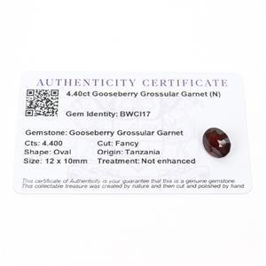 4.4cts Gooseberry Grossular Garnet 12x10mm Oval  (N)