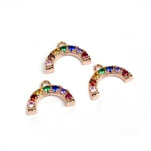 Rose Gold Plated 925 Sterling Silver Rainbow Charm With CZ Approx 6x8mm (3pcs)